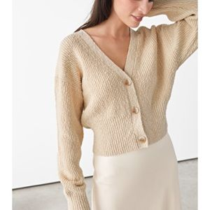 Other Stories Cream Cotton Cropped Cardigan